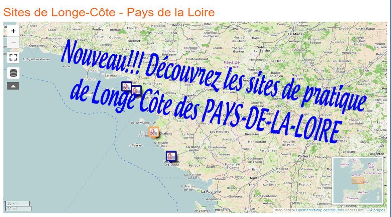 PAYS-DE-LA-LOIRE: Carte des sites Longe Côte